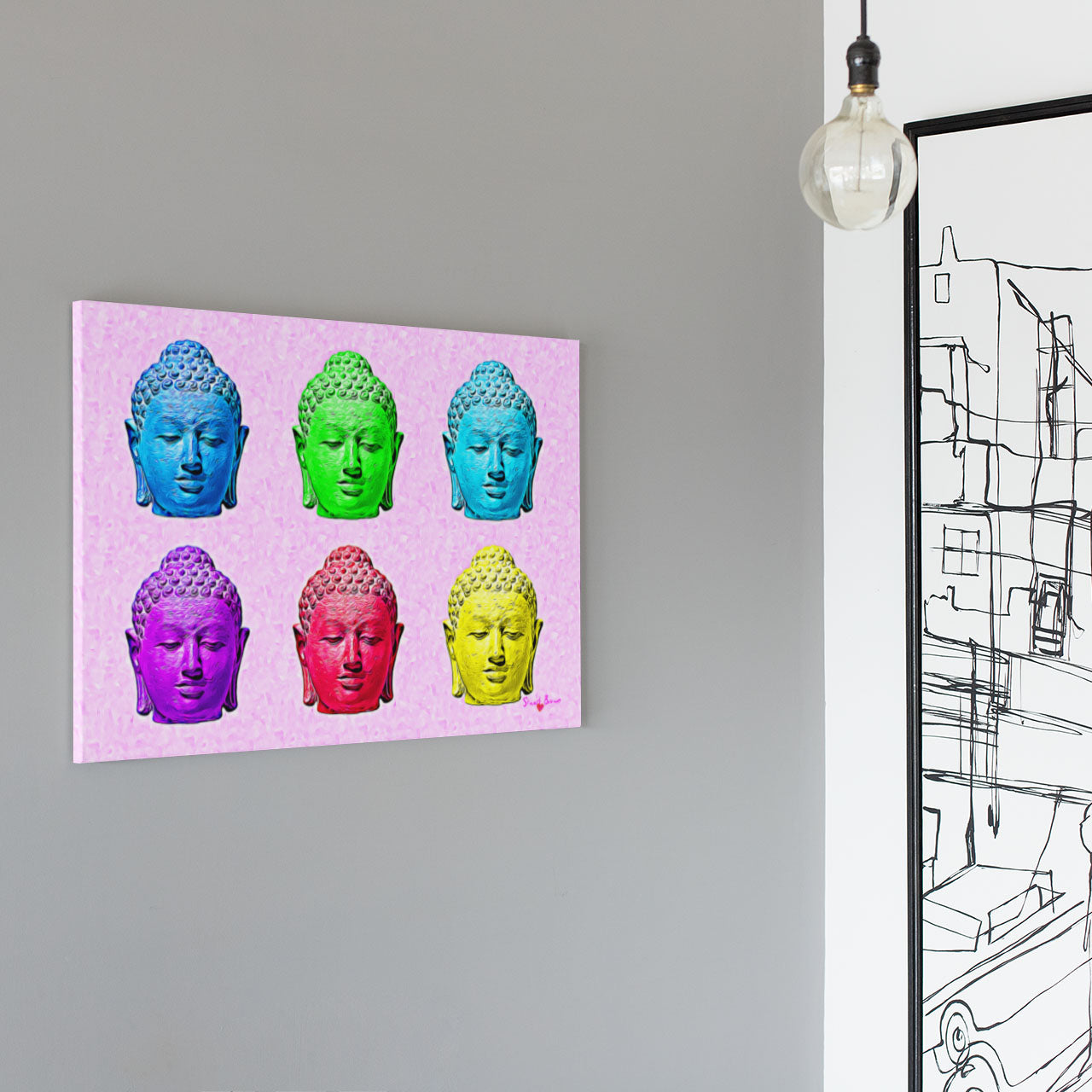 pop art buddha heads