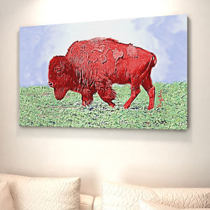 red bison print
