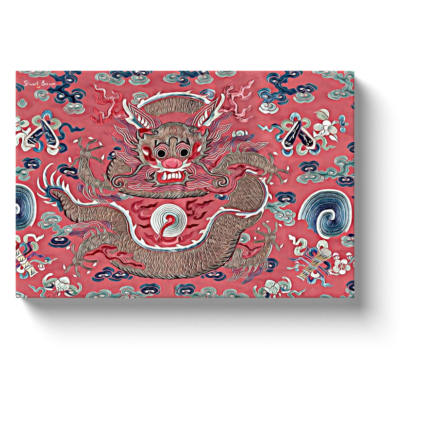 red chinese dragon in a pink sea of swirls canvas print