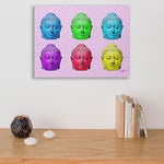 six colored buddha heads