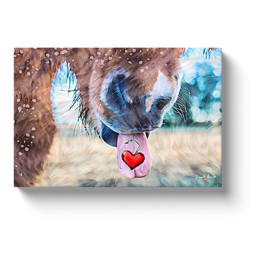speckled horse shows his heart canvas print