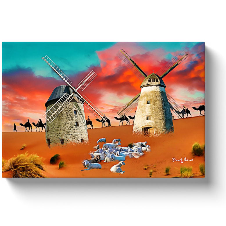 windmills in a desert