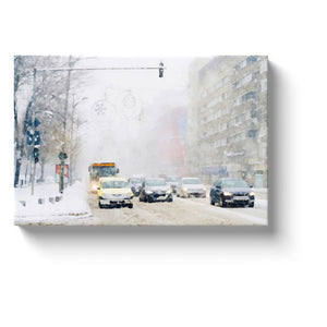winter canvas art watercolor print cars in a snow storm