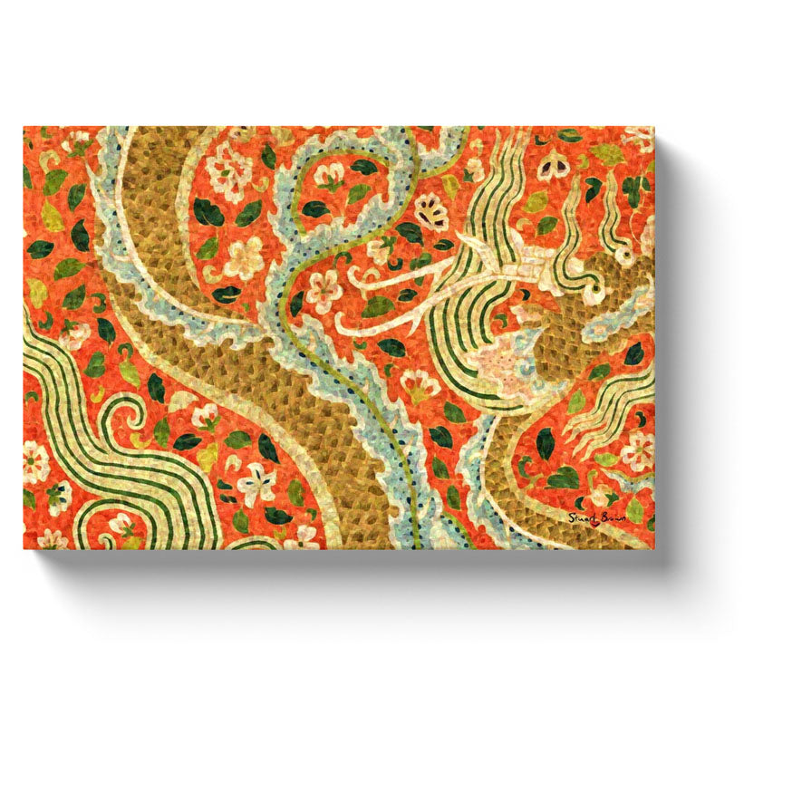 writhing gold chinese dragon canvas art print