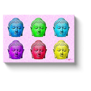 zen art six colored buddha heads on a pink background canvas