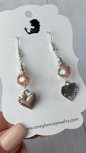 Pink 'Be true to your heart' earrings