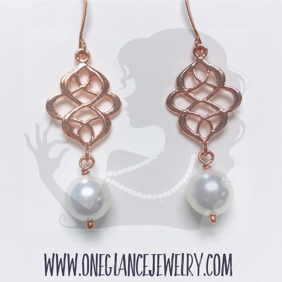 Rose gold swirl with pearl drop earring KIT