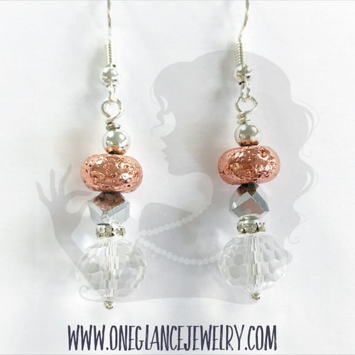 Rose gold dipped lava with crystal earrings