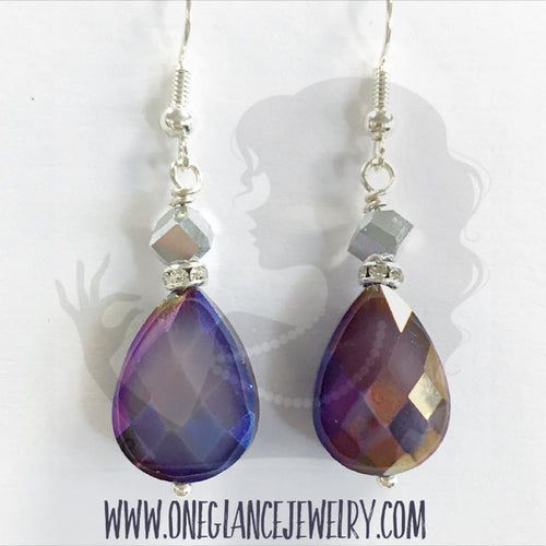 Teardrop earrings, PURPLE
