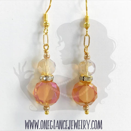 Orange matte coin crystal with gold accents earrings
