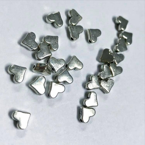 Pewter heart beads, SILVER