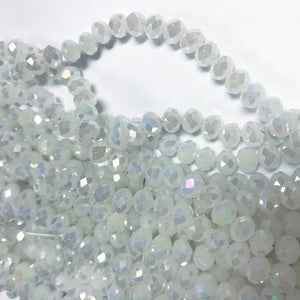 Chinese crystal: White with AB , 6X8mm rondell