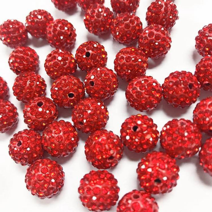 Red pave beads, 12mm