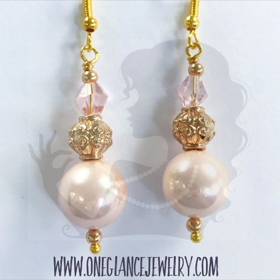 Pink shell pearl with crystal and metallic accents earrings