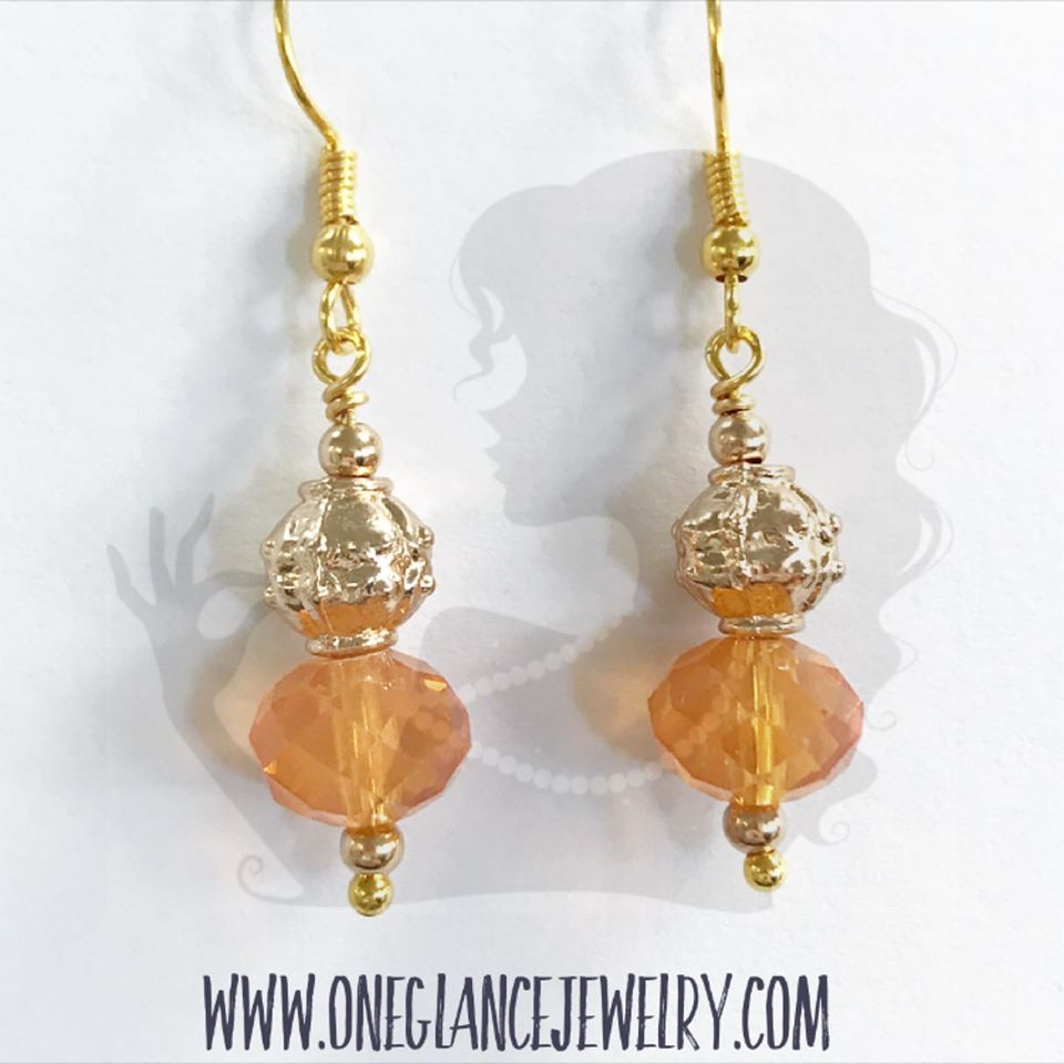Orange crystal with gold accents earrings