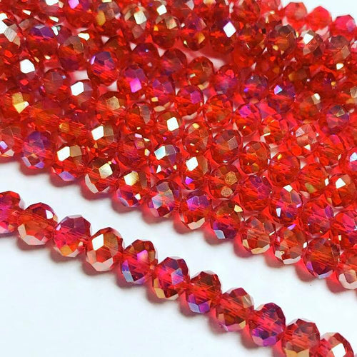 Chinese crystal: Red transparent with AB, 6X8mm rondell