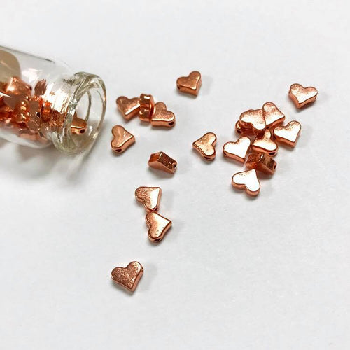 Pewter heart beads, COPPER