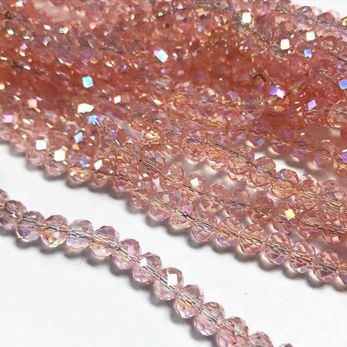 Chinese crystal:  pink transparent with AB, 4x6mm rondell