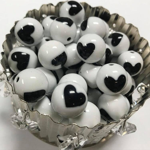 Acrylic black and white heart beads