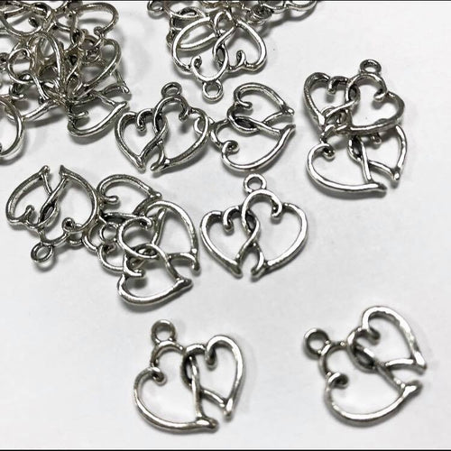 Double heart charm, 1pc