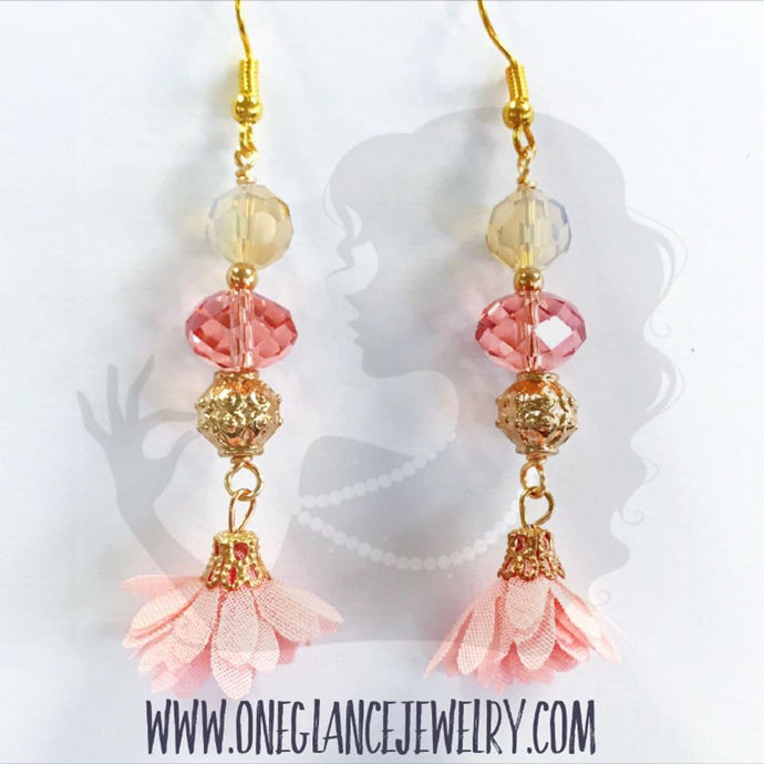 Crystal with pink flower dangle earrings