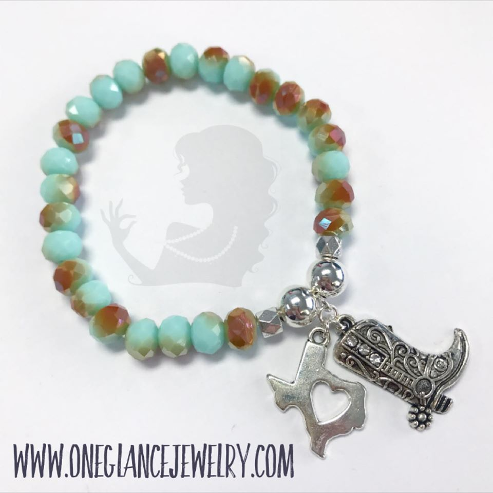 Turquoise & rose gold AB crystal rodeo stretch bracelet