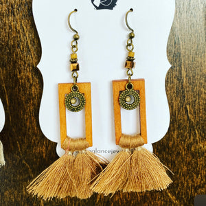 Boho tassel earrings with wooden frame