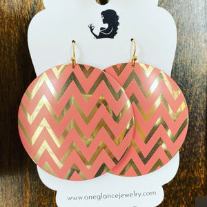Chevron style earrings, peachy pink