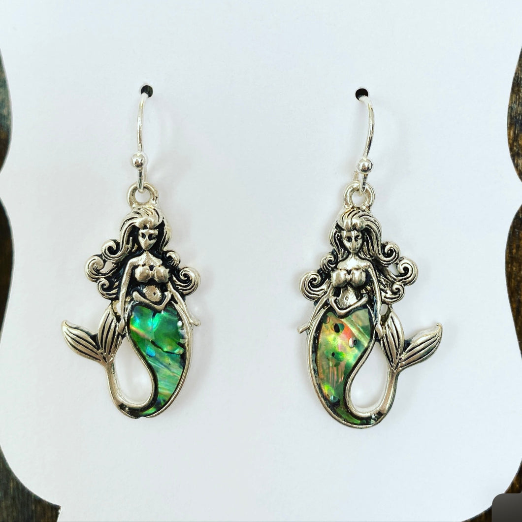 Mermaid earrings with abilone accents