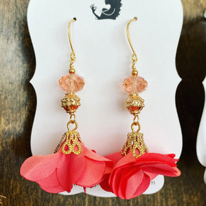 Floral earrings with crystal accents, coral