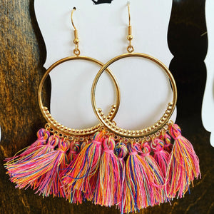 Boho tassel hoop earrings, multicolor