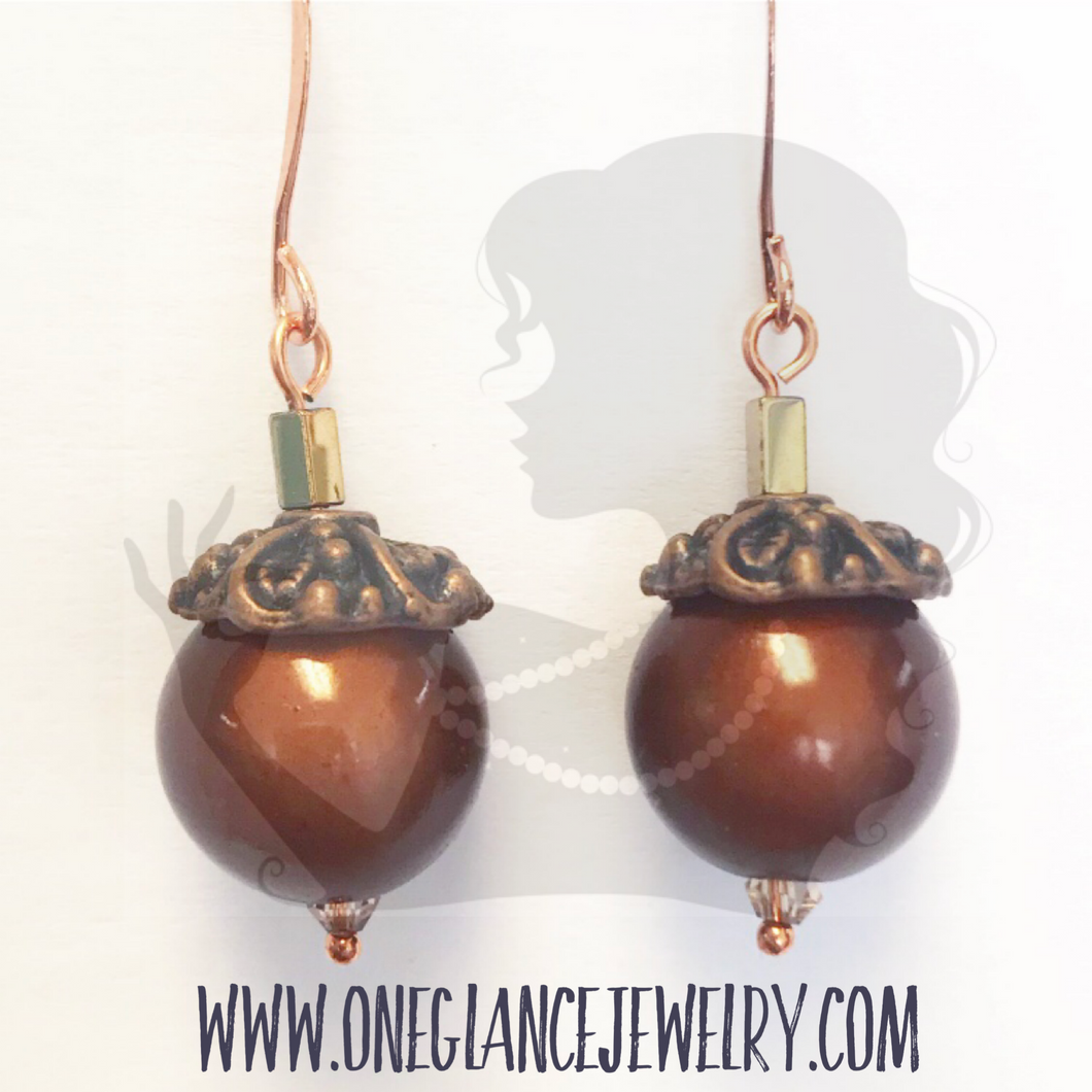 Copper acorn earring KIT