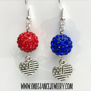 Patriotic 10mm pave earrings with heart flag charm