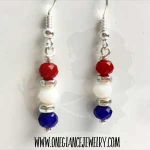 Simple red white and blue earrings
