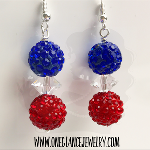 Red & blue pave earrings
