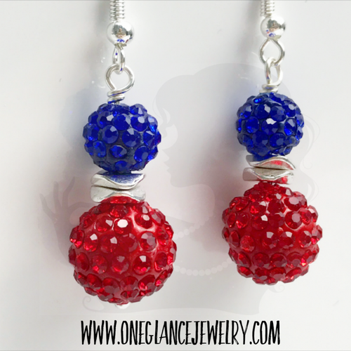 Red & blue pave earrings, style B