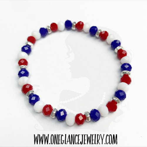 Red white and blue patriotic bracelet