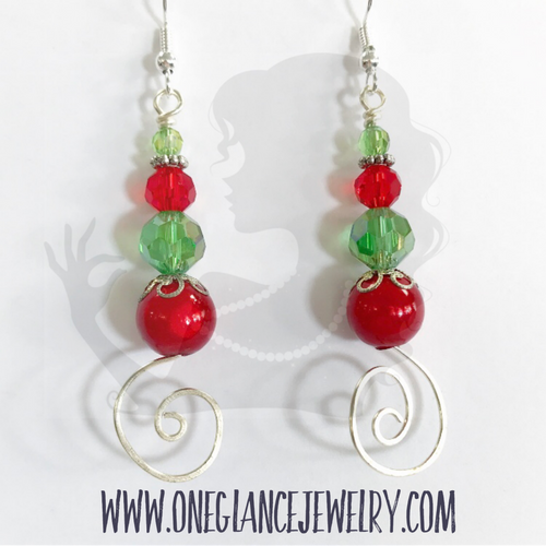 Earrings, Holiday Swirl
