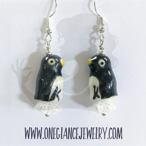 Earrings, Penguin on ice