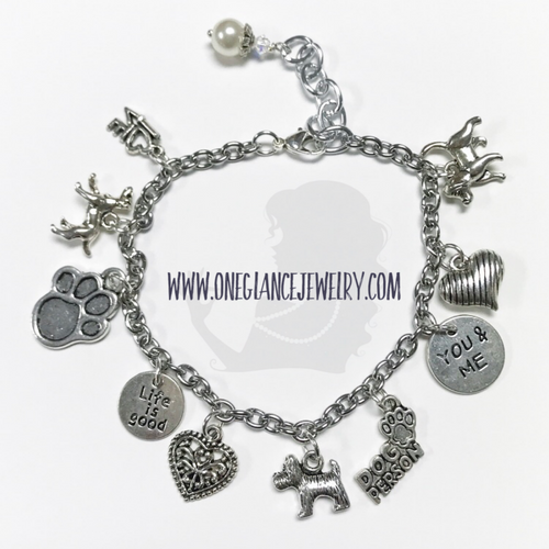 Dog themed charm bracelet