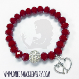 Red stretch bracelet with pave & double heart charm