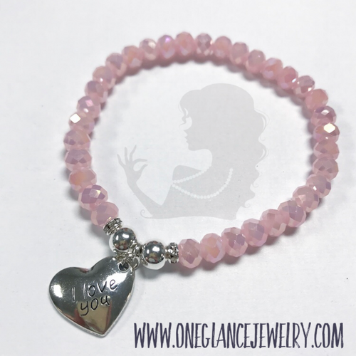 Pink stretch bracelet with 'I love you' heart charm