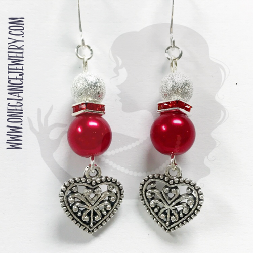 Red pearl with heart dangle earring