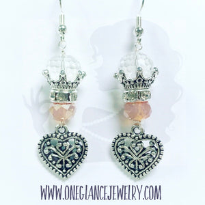 Pink crown earring