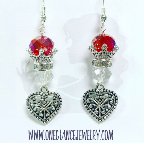 Red crown earring
