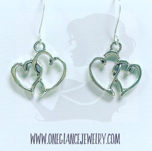Double heart earring