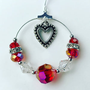 Red & clear hoop earrings with heart