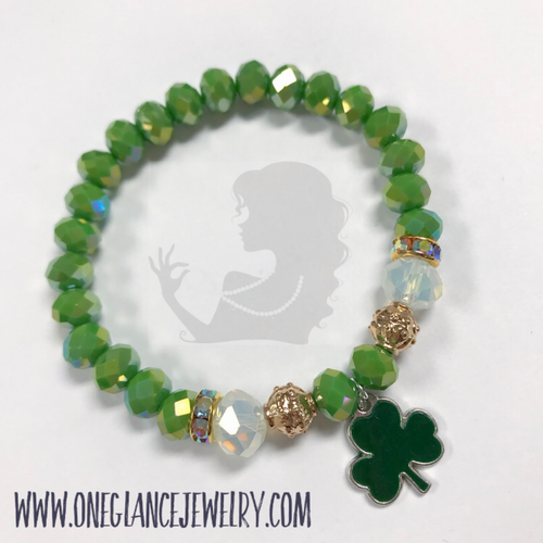 St Patrick's Day stretch bracelet, Shamrock