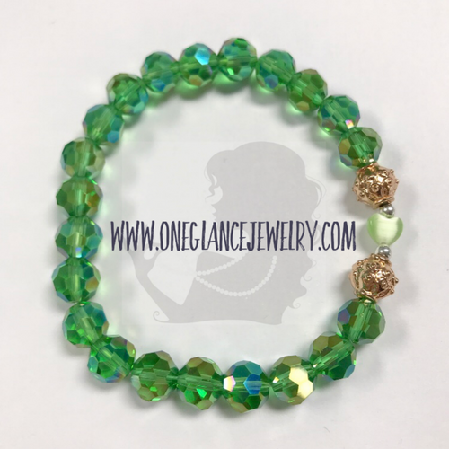 St Patrick's Day stretch bracelet, Heart