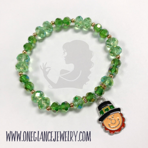 St Patrick's Day stretch bracelet, Leprechaun
